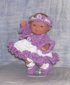 "Hand Crochet 5"" Berenguer Itty Bitty Baby Doll Clothes Sundress Jacket Lavender"