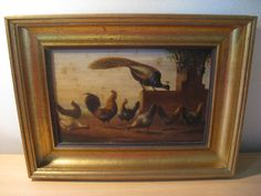Chickens and a peacock - oil on panel - H van Tankeren - c. 1920 #HvanTankeren