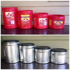 Folgers Coffee Container, Plastic Coffee Containers, Plastic Container Crafts, Recycling Containers, Diy Plastic Bottle, Coffee Can Diy Projects, Coffee Can Crafts, Upcycled Home Decor, Recycled Crafts