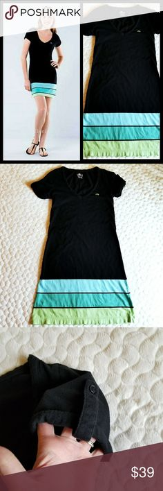 Lacoste dress blue green black stripe lightweight ******Lacoste Pima cotton dress. Black v neck with blue and green bands at the hem. The coloring in the front looks the same as the back. Lightweight, thin, and cool material. Perfect for summer and spring. Roll tab sleeves. Size 34 which is around an XS. See measurements in pics to see if this would work for you.******😍 Lacoste Dresses