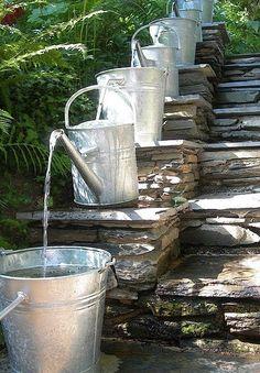 Pilgrim and Pie in France.: Water feature with watering cans ! I love this Watering Can Water Feature! Dream Garden, Garden Art, Home And Garden, Outdoor Spaces, Outdoor Living, Ponds Backyard, Backyard Ideas, Cool Garden Ideas, Garden Ponds