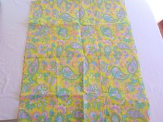 Vintage Floral Paisley Mod Hippie Cotton Fabric 4 Yds Green Pink Yellow