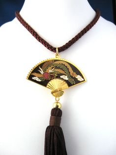 Fan Shaped Chinese Phoenix Necklace by JewelryDiscoveries on Etsy #GotVintage #Vintage