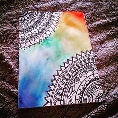 Para el estrés! Zentangle - Mandala Art #zentangle #Mandala #art #rainbow #watercolors #sharpie #acuarelas #estres