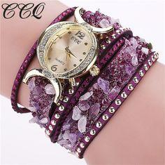 CCQ 2016 New Fashion Rhinestone Quartz Watch Leather Bracelet Watch Relogio Feminino Women Wristwatch Casual Quartz Watch 1776
