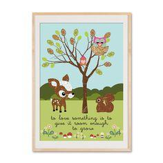 Originaldruck - Kinderzimmer Poster Garten-Reh,Eule, Eichhörnchen - ein Designerstück von VintagePaperGoods