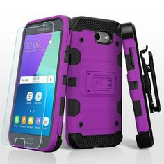 Insten Purple/ Hard Snap-on Dual Layer Hybrid Case For Samsung Galaxy Amp Prime 2/ Express Prime 2/ J3