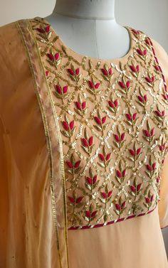Description: Zardozi and Sequin handwork on kurta yoke All-over Sequin fabric gharara in net with gota border. Chiffon dupatta with - Salvabrani Embroidery Suits Punjabi, Zardozi Embroidery, Embroidery On Kurtis, Hand Embroidery Dress, Kurti Embroidery Design, Embroidery Neck Designs, Embroidery Fashion, Embroidered Kurti, Couture Embroidery