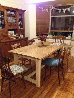 Dining room with our new, hand made table!