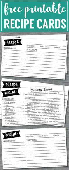 Free Recipe Card Template Printable. Customize and print these recipe cards for holiday recipes, bake sales, or just share your favorite recipe with friends.