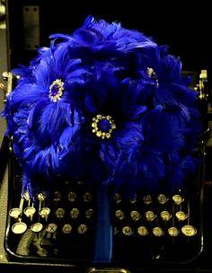 Blue and Rhinestone Bouquet #blue #wedding #decor