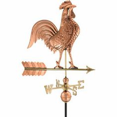 "27""l X 25""h Rooster Weathervane, Polished Copper"