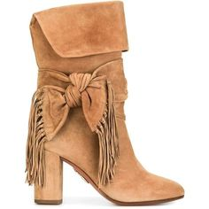 Aquazzura bow detail fringed boots (2,690 BAM) ❤ liked on Polyvore featuring shoes, boots, beige, bow shoes, bow boots, fringe shoes, fringe boots and aquazzura shoes