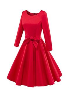 Chicanary Hepburn style Women Long Sleeve Boat Neck Solid Vintage Swing Dance Dress with bow Swing Dance Dress, Dance Dresses, Cheap Dresses, Women's Dresses, Vintage Red Dress, Vintage Dresses, 1950s Outfits, Thing 1, Dress With Bow