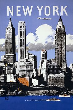 New York Manhattan America American Travel Vintage Posters Art Prints