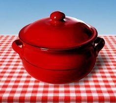 Mamma Ro Onion Soup Casserole w Lid in Red by La Vita Vera. $29.75. 6 Vibrant colors or mix and match to create your own style. Hand crafted which give each piece a unique story to tell. Bold palette of solid color. Color your table with this beautiful Italian tableware. Oven-safe up to 400 degrees. Onion soup casserole features a spacious interior, durable hand crafted construction and matching lid. Bold palette of solid color . Hand crafted which give each piece a un...
