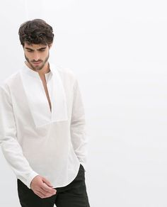 Discover the new ZARA collection online. White Linen Shirt, White Shirts, Mode Masculine, Beach Shirts, Summer Shirts, Zara Man Shirts, Zara Shirt, Camisa Zara, Mexican Outfit