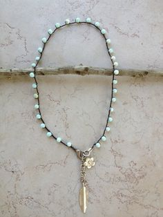 Boho Turquoise Peruvian Opal and Silver bead crocheted necklace, Indie Surfer girl chic, FEWmade