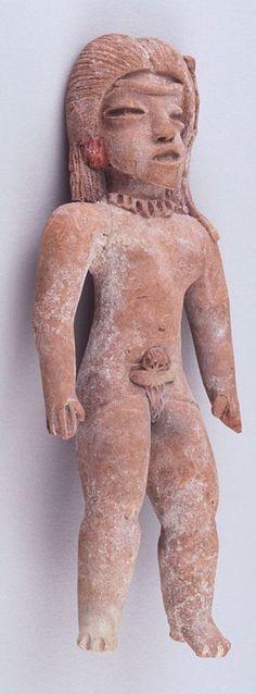 Standing female figure by BC. Aztec Ruins, Sculptures, Lion Sculpture, Ancient Goddesses, Mexica, Mesoamerican, Ancient Art, Prehistoric, Original Paintings
