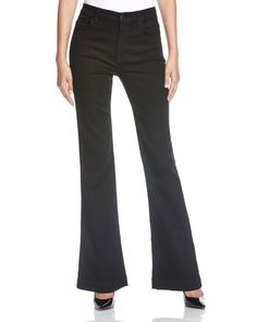 Jen 7 Flared Jeans in Overdye Black