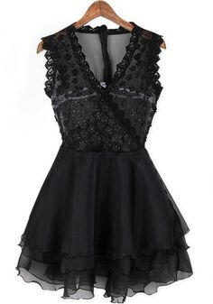 Black Lace Tiered Grenadine Sequin Embroidery Acrylic Dress