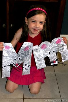 Pictures for all the letters, abc crafts. M is for mouse Look under Home School - Pre-school - Letter Art Fantastic Ideas Abc Crafts, Alphabet Crafts, Alphabet Book, Letter A Crafts, Learning The Alphabet, Letter Art, Kids Learning, Alphabet Letters, Preschool Letter M