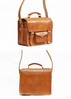 Retro Camera Bag Brown Cow Leather Square by CoruscateLeatherBag, $130.00