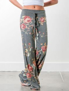 Womens Floral Rose Butterflie Trouser Ladies Wide Leg Baggy Pant Palazzo Legging