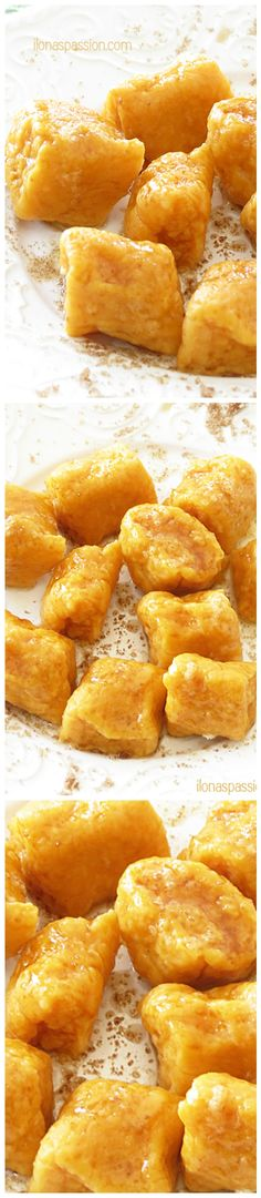 Sweet Potato gnocchi topped with butter and brown sugar!