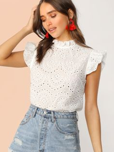 To find out about the Mock-Neck Ruffle Trim Embroidery Eyelet Top at SHEIN, part of our latest Blouses ready to shop online today! Look Fashion, Fashion News, Fashion Outfits, Womens Fashion, Blouse Peplum, Work Blouse, Look Con Short, Bohemian Blouses, Eyelet Top
