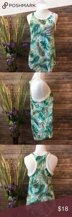 "VS PINK | Palm Print Tank Size XS Excellent used condition! No stains or holes. Could fit a size small for it is a bit baggy. Approximate measurements (taken with garment lying flat) pit to pit: 15.5""   Length: 24"" PINK Victoria's Secret Tops Tank Tops"