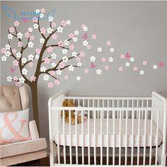 Arbre énorme Soufflage Cherry Blossom Stickers Muraux Pépinière Fleurs Papillon Art Chambre De Bébé Enfants Wall