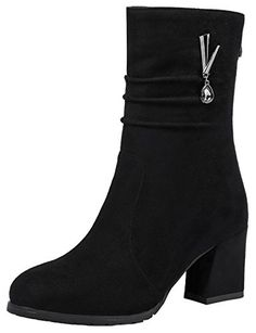25f27ddbb655 Mofri Womens Stylish Faux Suede Pendant Round Toe Medium Chunky Heel  Slouchy Mid Calf Boots with Back Zipper Black 6 BM US -- Amazon most  trusted e-retailer