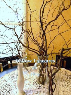 Curly Willow Branches (10) Dried Wedding Wishing Tree, Blessing Tree, Floral Arrangements, Centerpiece 2'- 3'. $15.00, via Etsy.