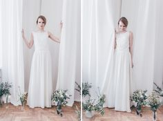 a girl trying on a wedding dress in atelier