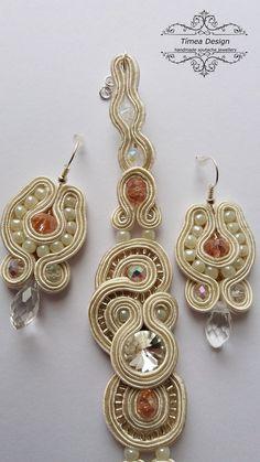 Handmade Soutache Champagne Bracelet Earring Jewelry Set  By Tímea Design - Bánfi Tímea