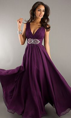 Long Deep V-Neck Evening Dress at SimplyDresses.com