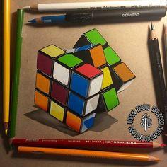 Rubiks Cube! Colored pencil drawing by @coreymayne #artistsinspired #theartisthemotive .