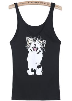 Black Sleeveless Cat Print Vest - Sheinside.com
