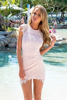 Drape Mini Dress with Pink Lace Overlay  <br/><div class='zoom-vendor-name'>By <a href=http://www.ustrendy.com/Xenia>Xenia</a></div>