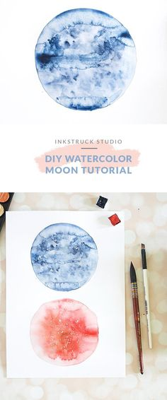 Watercolor Moon, Watercolor Tips, Watercolor Painting Techniques, Watercolour Tutorials, Painting & Drawing, Watercolor Paintings, Watercolors, Moon Painting, Painting Studio