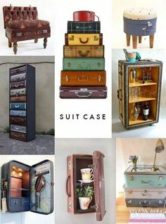 Awesome idea. Suitcase stools, dresser, shelves.