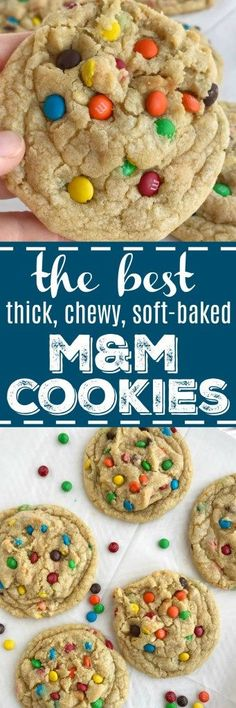 These cookies really are the best M & M cookies! Big cookies that are thick, chewy, and soft-baked and loaded with mini m&m candy. There are a few tricks that make these cookies the best. Cookie Desserts, Just Desserts, Delicious Desserts, Dessert Recipes, Big Cookie, Yummy Cookies, M M Cookies, Cookies Best, Giant Cookies