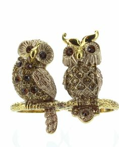 Amazon.com: Womens Rings, Gold, Clear & Topaz Stones Rhinestone Owl Ring, Size 8-9, Fits Two Rings, Wide: Jewelry