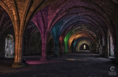 Colourfully Illuminated Cloister at Fountains Abbey in North Yorkshire, England King Henry Viii, Indoor Photography, North Yorkshire, Beautiful Interiors, Catholic, England, Places, Roman Catholic, British