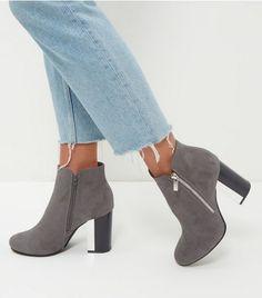Grey Suedette Metal Trim Heeled Boots | New Look