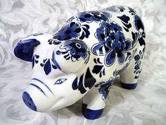 $25.00 DECORATIVE CERAMIC PIG BLUE & WHITE HAND-PAINTED