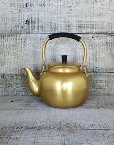 Teapot Mid Century Brass Teapot Brass Tea Kettle Vintage Gold Tones Teapot Retro Kitchen Made in Korea Tea Pot Brass Planter Unique Gift by TheDustyOldShack on Etsy