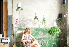 cabeça- plástico para baixo vasos de plantas 1pc mini céu plantador 2014 lar novidade jardim criativo plantar pequenos vasos de flores brancas sc US $7.98