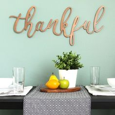 Our Thankful Bronze Script Wall Plaque is a beautifully simple sentimental wall piece. You'll love how its looping script gives your home a cozy feel. Metal Wall Decor, Metal Wall Art, Wall Art Decor, Wall Plaques, Wall Signs, Up House, Dining Room Walls, Wall Art Sets, Wall Sculptures